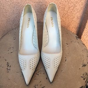 Prada White Leather Perforated Heels Size 41.5